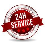 24 bottoni di servizio di ora - insegna online di vendita del distintivo con il nastro Fotografia Stock Libera da Diritti
