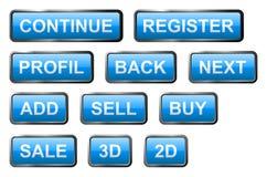 Bottoni di vetro blu Fotografia Stock Libera da Diritti