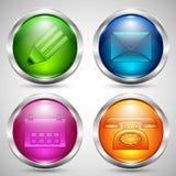 Bottoni di vetro nel telaio del metallo con le icone di comunicazione Fotografia Stock