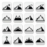 Bottoni di vettore delle montagne messi Immagini Stock Libere da Diritti