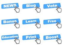 Bottoni differenti di web con il cursore della mano Fotografia Stock