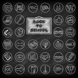 Bottoni disegnati a mano della scuola messi Fotografia Stock Libera da Diritti