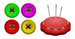 Bottoni e puntaspilli Fotografia Stock