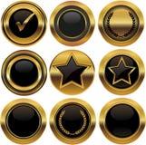 Bottoni ed etichette dell'oro Fotografie Stock Libere da Diritti