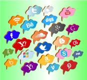 Bottoni/etichette/icone sociali di media Fotografie Stock Libere da Diritti