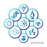 Bottoni infographic di scienza blu moderna Fotografia Stock