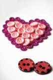 Bottoni nella forma di cuore Fotografie Stock Libere da Diritti