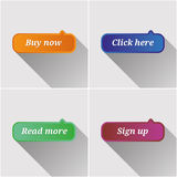 Bottoni piani di web messi Fotografie Stock Libere da Diritti