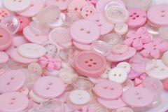 Bottoni rosa, bianchi e trasparenti Fotografia Stock Libera da Diritti
