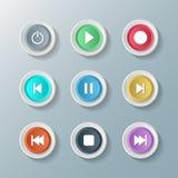 Bottoni rotondi bianchi dell'icona di simbolo di controllo stabilito del lettore multimediale Illustratore di vettore Fotografia Stock