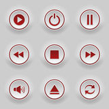 Bottoni rotondi rossi per il giocatore di web Fotografie Stock Libere da Diritti