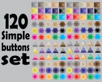 120 bottoni semplici messi Immagine Stock Libera da Diritti