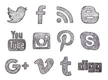 Bottoni sociali disegnati a mano di media Fotografia Stock Libera da Diritti