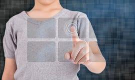 Bottoni sociali moderni di stampaggio a mano Fotografie Stock Libere da Diritti