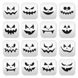 Bottoni spaventosi dei fronti della zucca di Halloween messi Immagine Stock