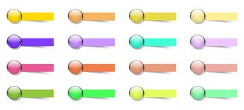 16 bottoni variopinti con le note appiccicose illustrazione di stock