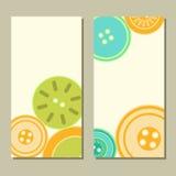 Bottoni variopinti dell'arancia e di verde blu sull'insieme di carte bianco, vettore Immagine Stock