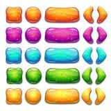 Bottoni variopinti della gelatina del fumetto con le bolle dentro illustrazione di stock