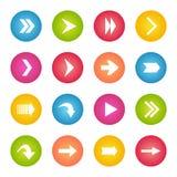Bottoni variopinti di web del cerchio dell'icona della freccia Fotografie Stock