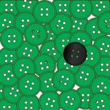 Bottoni verdi con un Odd Black One Background Immagine Stock Libera da Diritti