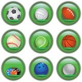 Bottoni verdi di sport fotografia stock