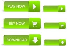 Bottoni verdi di web Fotografie Stock Libere da Diritti