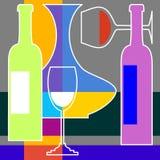 Botttle en glas wijn Stock Foto