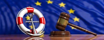 Bouée de sauvetage, ancre de bateau et marteau de loi sur le fond de drapeau d'Union européenne, bannière illustration 3D illustration libre de droits