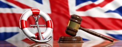 Bouée de sauvetage, ancre de bateau et marteau de loi sur le fond de drapeau de la Grande-Bretagne, bannière illustration 3D illustration de vecteur