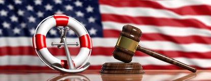 Bouée de sauvetage, ancre de bateau et marteau de loi sur les USA du fond de drapeau de l'Amérique, bannière illustration 3D illustration libre de droits