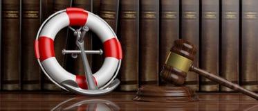 Bouée de sauvetage, ancre de bateau de la Marine et marteau de juge sur le fond de livres de loi, bannière illustration 3D illustration de vecteur