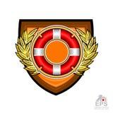 Bouée de sauvetage au milieu de guirlande d'or de laurier sur le bouclier d'isolement sur le blanc Logo de sport pour toute équip illustration stock