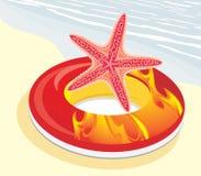 Bouée de sauvetage avec des étoiles de mer Image stock