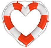 Bouée de sauvetage de coeur (chemin de coupure inclus) Photographie stock libre de droits