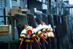 Bouées de langoustine sur le quai à Portland, Maine image stock