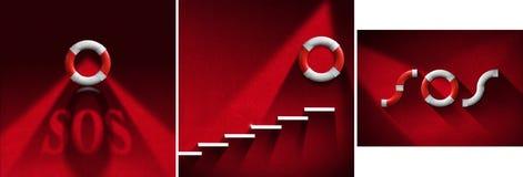 Bouées de sauvetage rouges et blanches de concept d'aide de SOS - Images stock