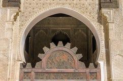Bou Inania Madrasa, известный пример архитектуры Maranid и популярного туристского визирования, Fes, Марокко, Северной Африки Стоковое фото RF