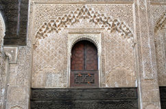 Bou Inania Madrasa in Fes, Detail des Innenraums Lizenzfreies Stockbild