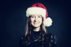 сь женщина 5 шлема рождества bou предпосылки лет santa портрета черного милого старых Стоковое Изображение