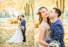 Boubled picture of stunning newlyweds kissing in the autumn park.  Stock Photography
