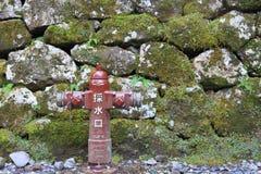 Bouche d'incendie rouge au-dessus du mur de roche Image libre de droits