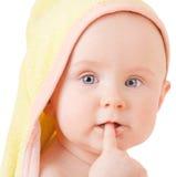 bouche de doigt de chéri photo stock
