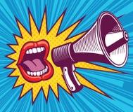 Bouche de fille avec le mégaphone Illustration de vecteur dans le bruit Art Style illustration libre de droits