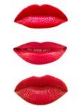 Bouche de trois femmes d'isolement Photographie stock