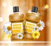 Bouche Rinse Design Cosmetics Product Bottle avec des fleurs Images libres de droits
