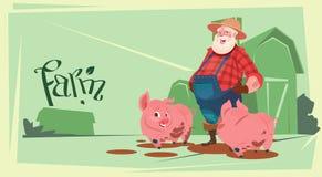 Boucher Animal Farm de Feed Pig Pork d'agriculteur illustration de vecteur