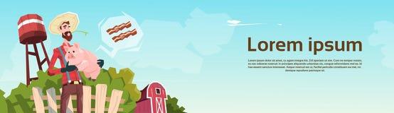 Boucher Animal Farm de Hold Pig Pork d'agriculteur illustration stock