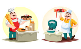 Boucher avec de la viande et le boulanger avec le petit pain et le pain Photos stock