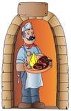 boucher avec la nourriture typique Photo stock