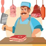 Boucher Character Vector Boucher professionnel classique Man With Knife Image stock